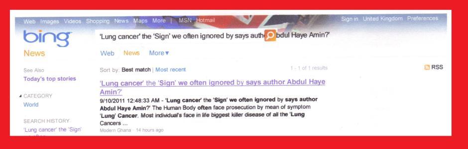 WORLD WIDE NEWS 'LUNG CANCER'